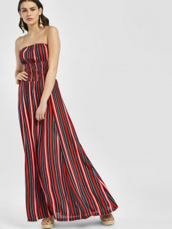 Miaminx Multi Stripe Off-Shoulder Maxi Dress