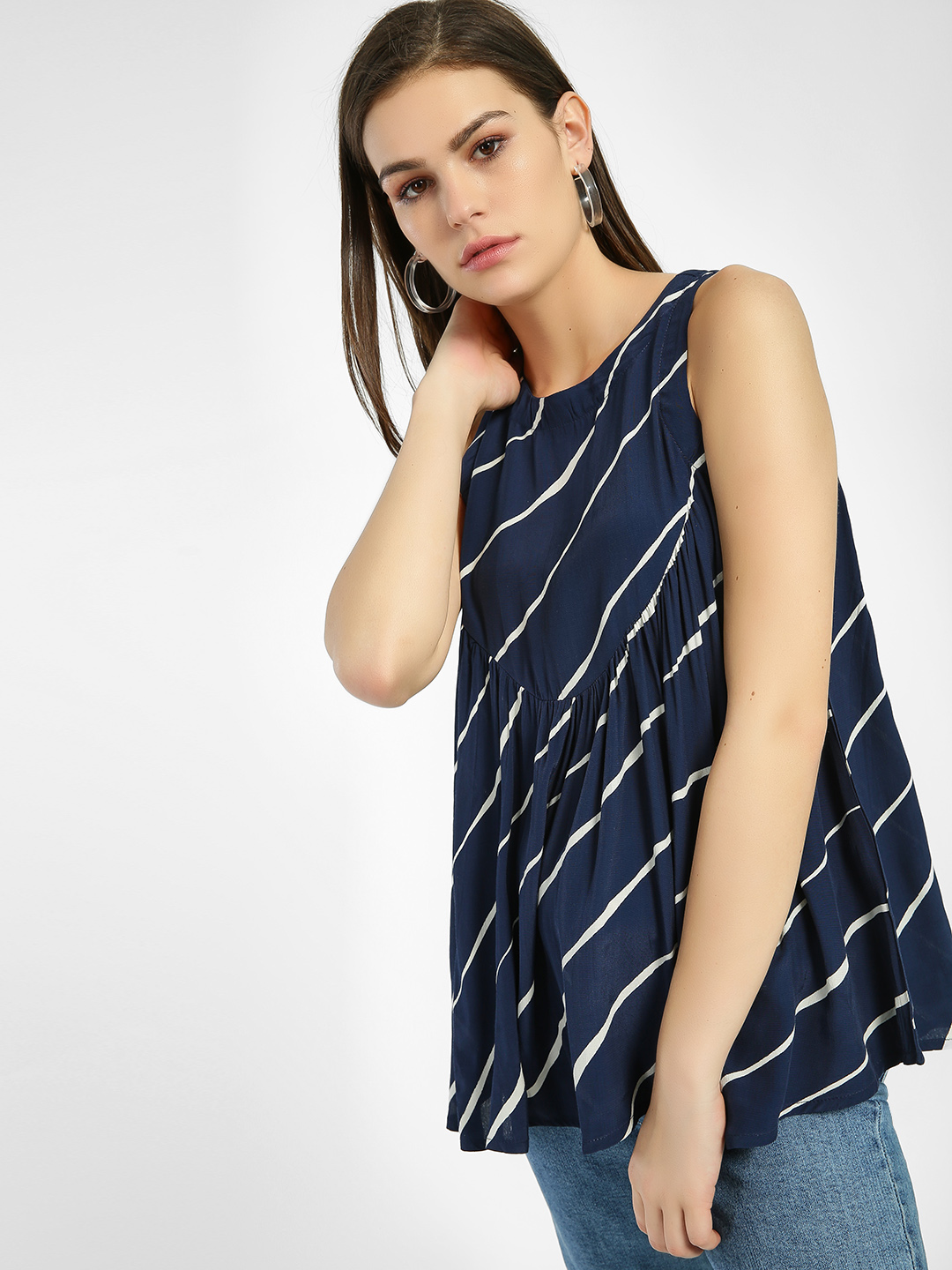 Miaminx Navy Blue Multi Stripe Sleeveless Blouse 1