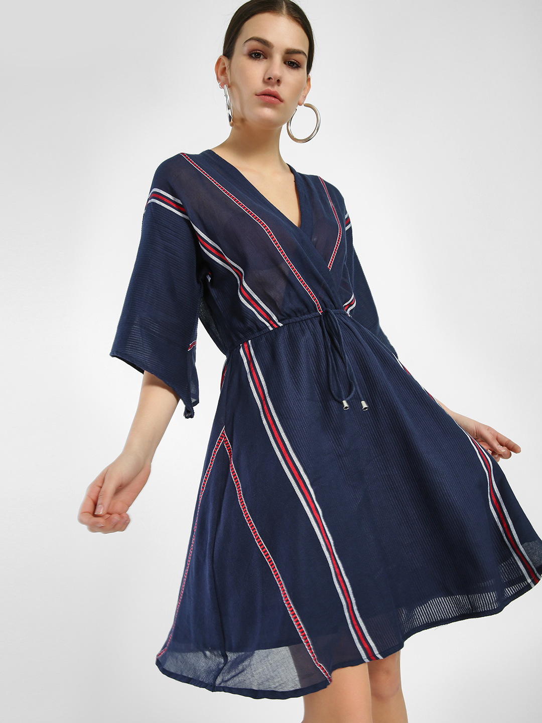 Miaminx Navy Blue Yarn Dyed Striped Skater Dress 1