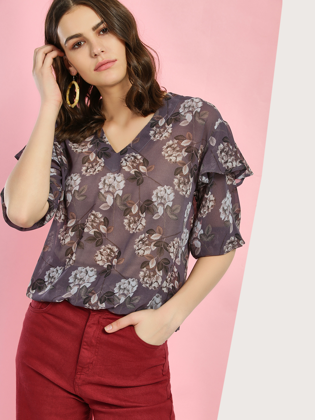 Miaminx Purple Floral Print Layered Sleeve Blouse 1