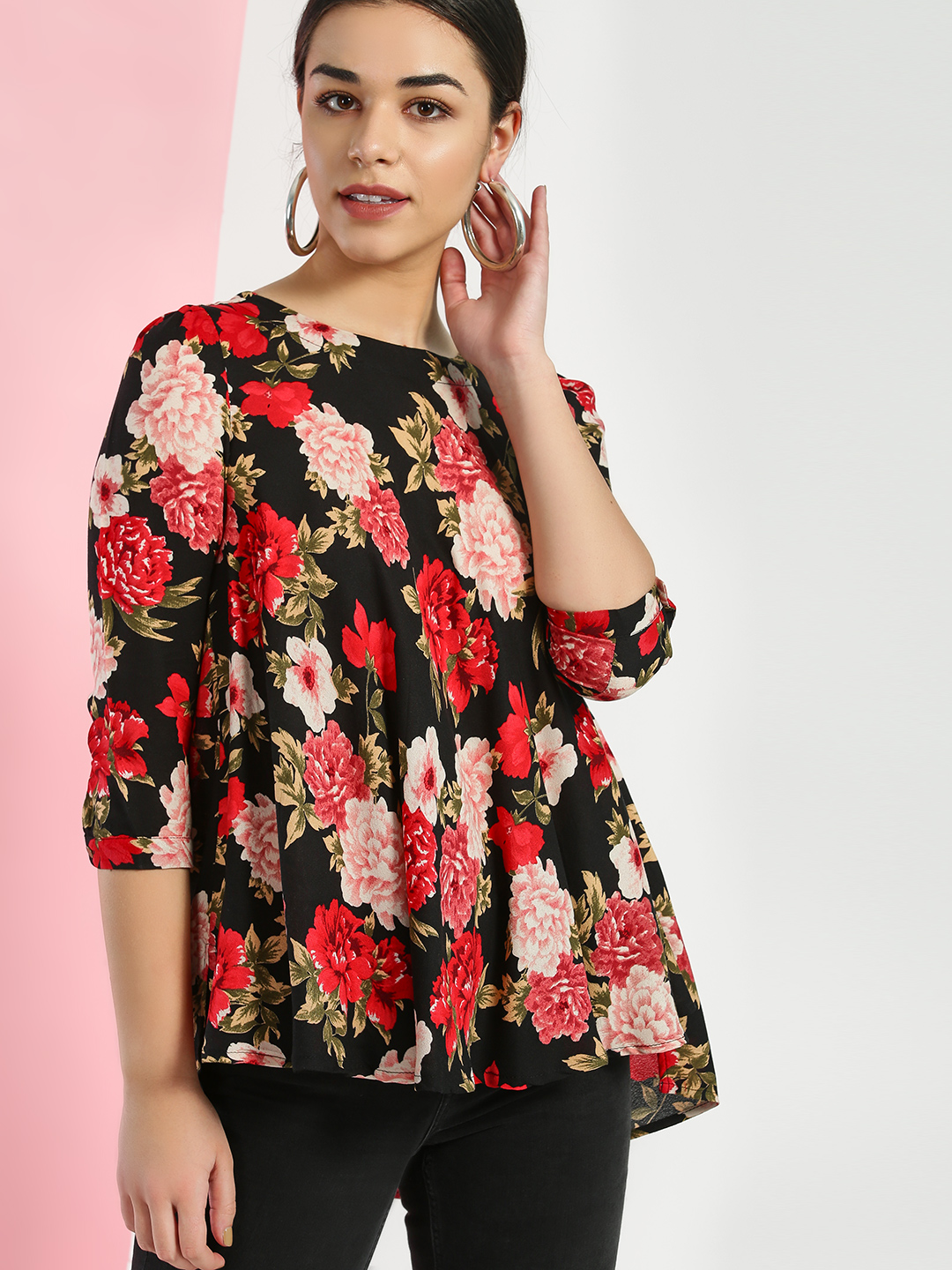 Miaminx Black Floral Print Blouse 1