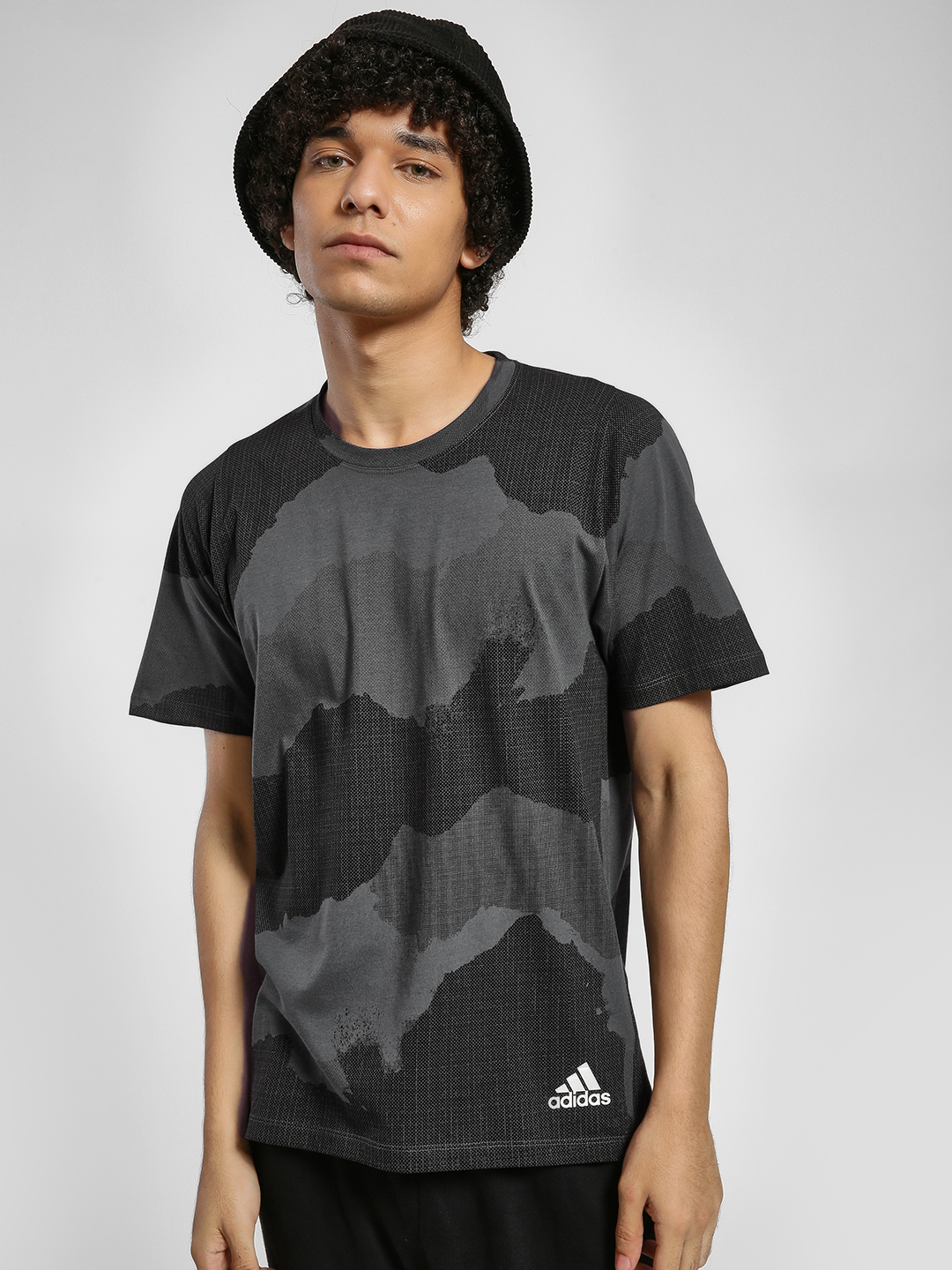 Adidas Black Large Camo Print T-Shirt 1
