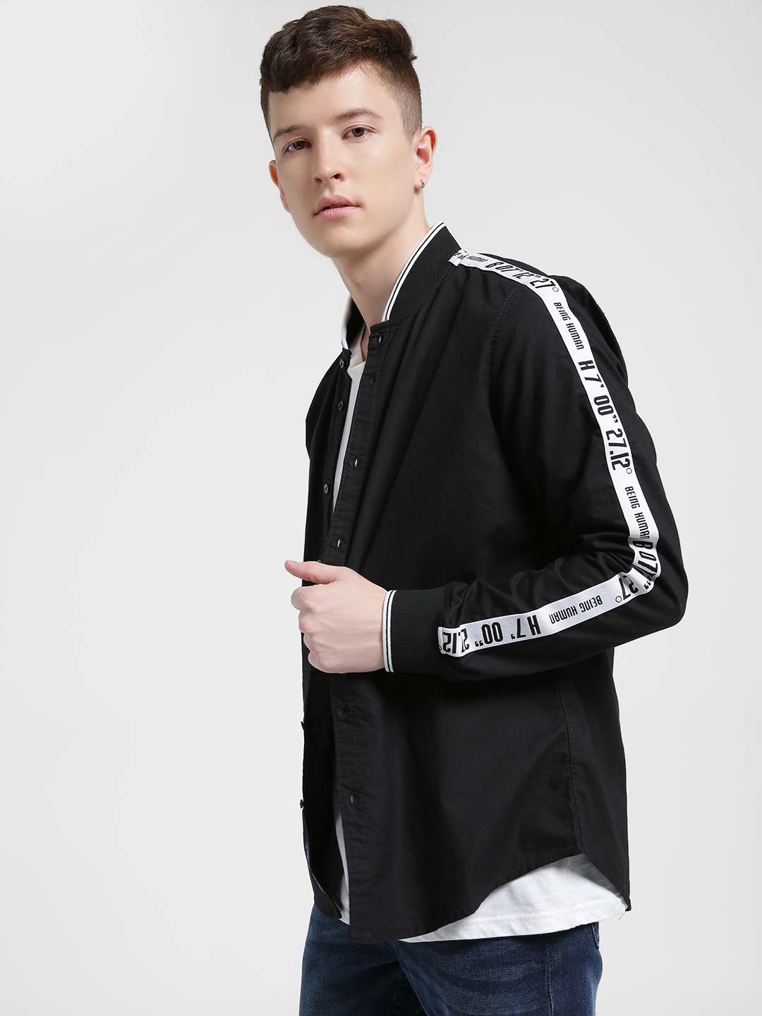 Being Human Black Contrast Side Taped Casual Shirt 1