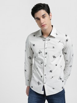 Being Human Pinstripe Floral Print Casual Shirt
