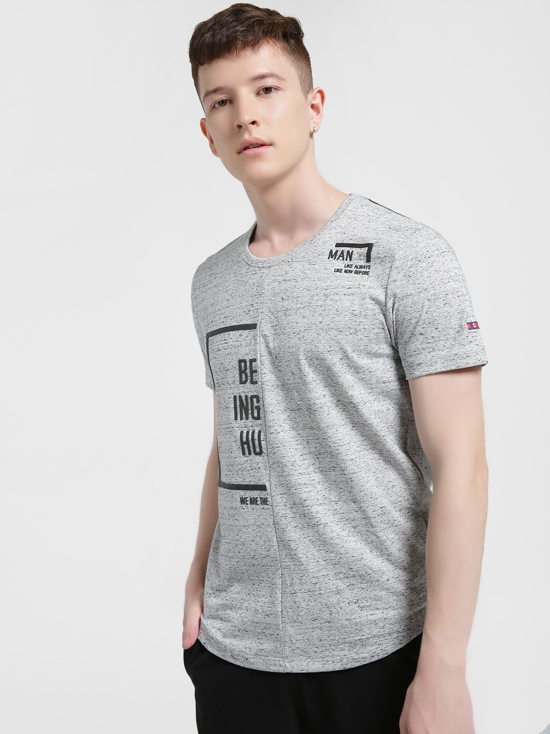 Being Human Grey Slogan Placement Print T-Shirt 1