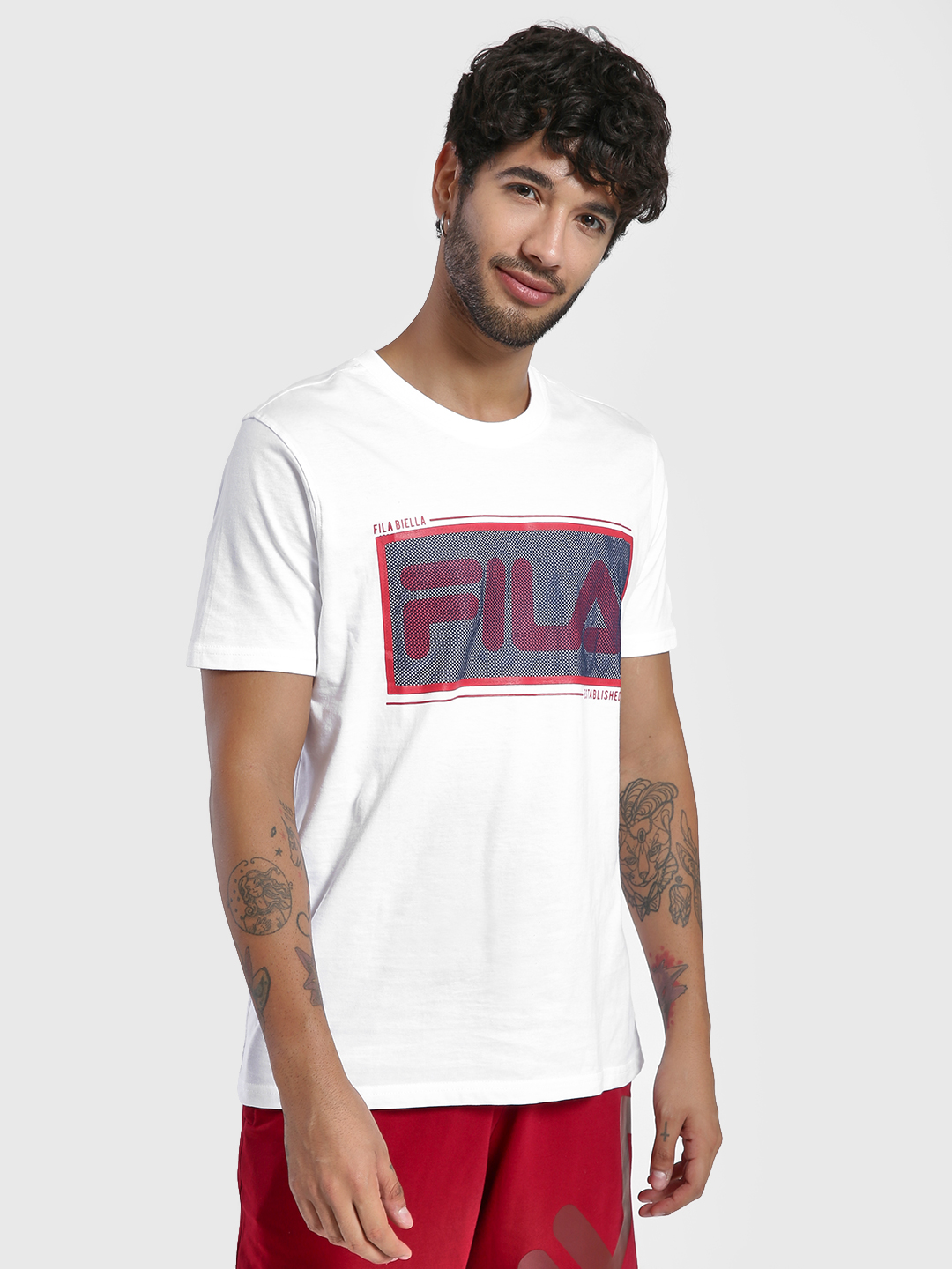Fila White Mesh Logo Short Sleeve T-Shirt 1