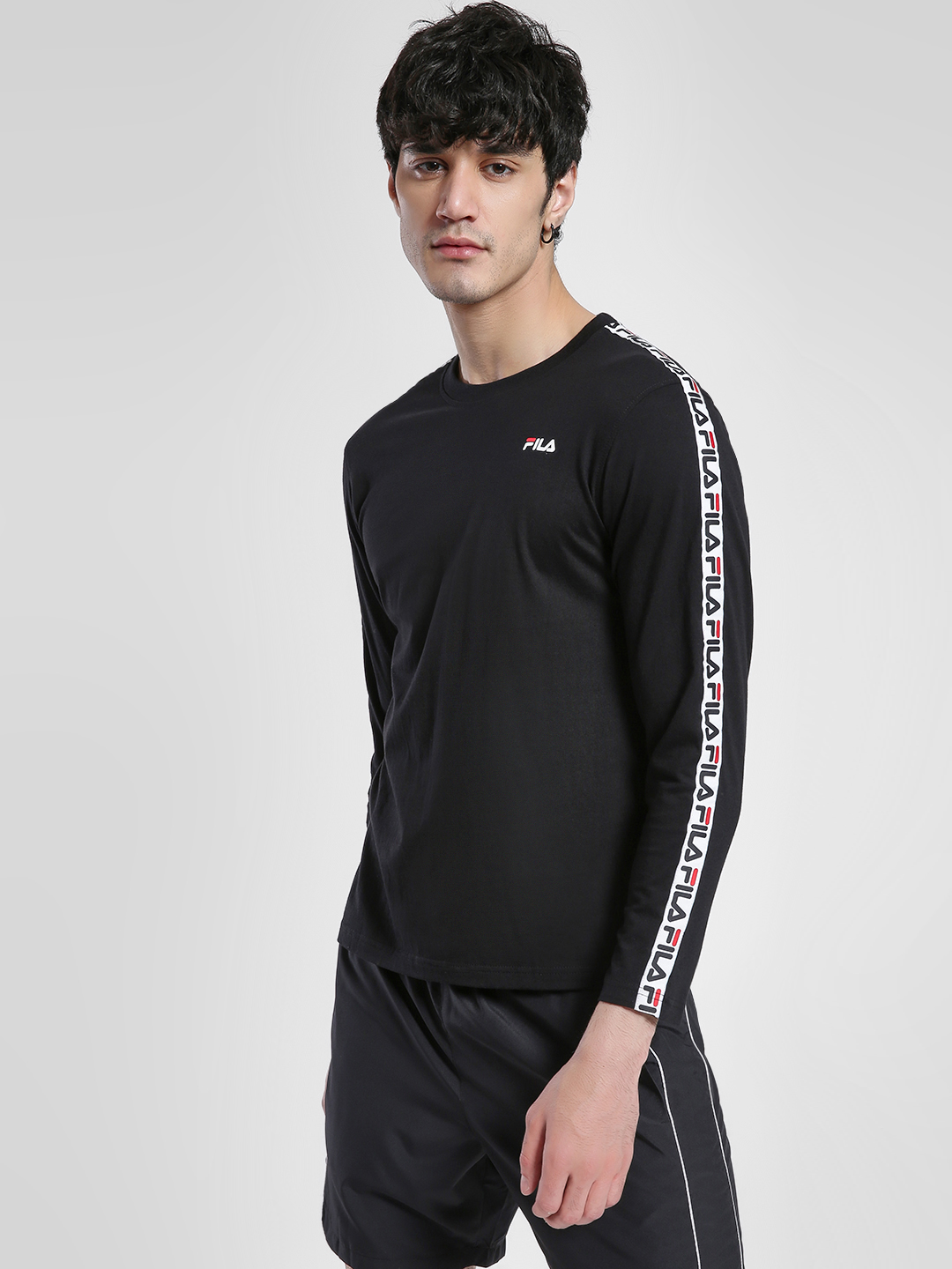 Fila Black Logo Tape Long Sleeve T-Shirt 1