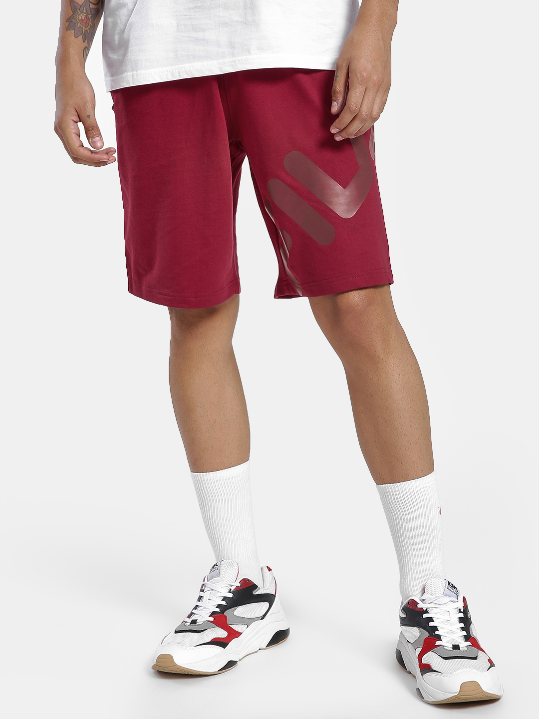 Fila Red Logo Basic Shorts 1