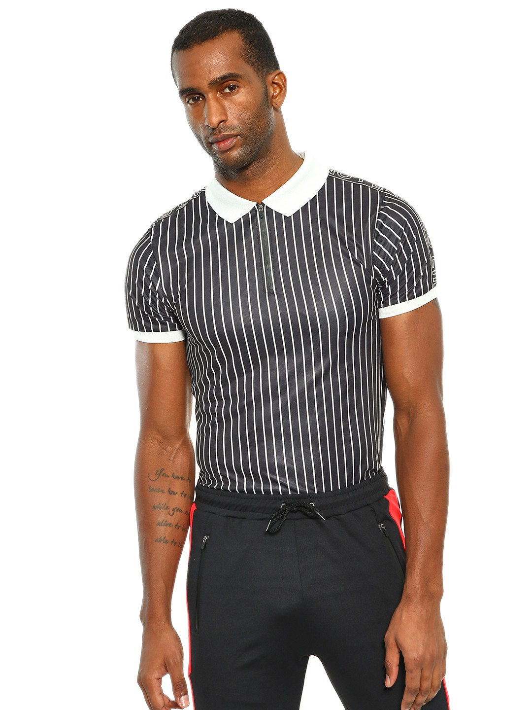 K ACTIVE Black KOOVS Pinstripe Muscle Fit Polo Shirt 1