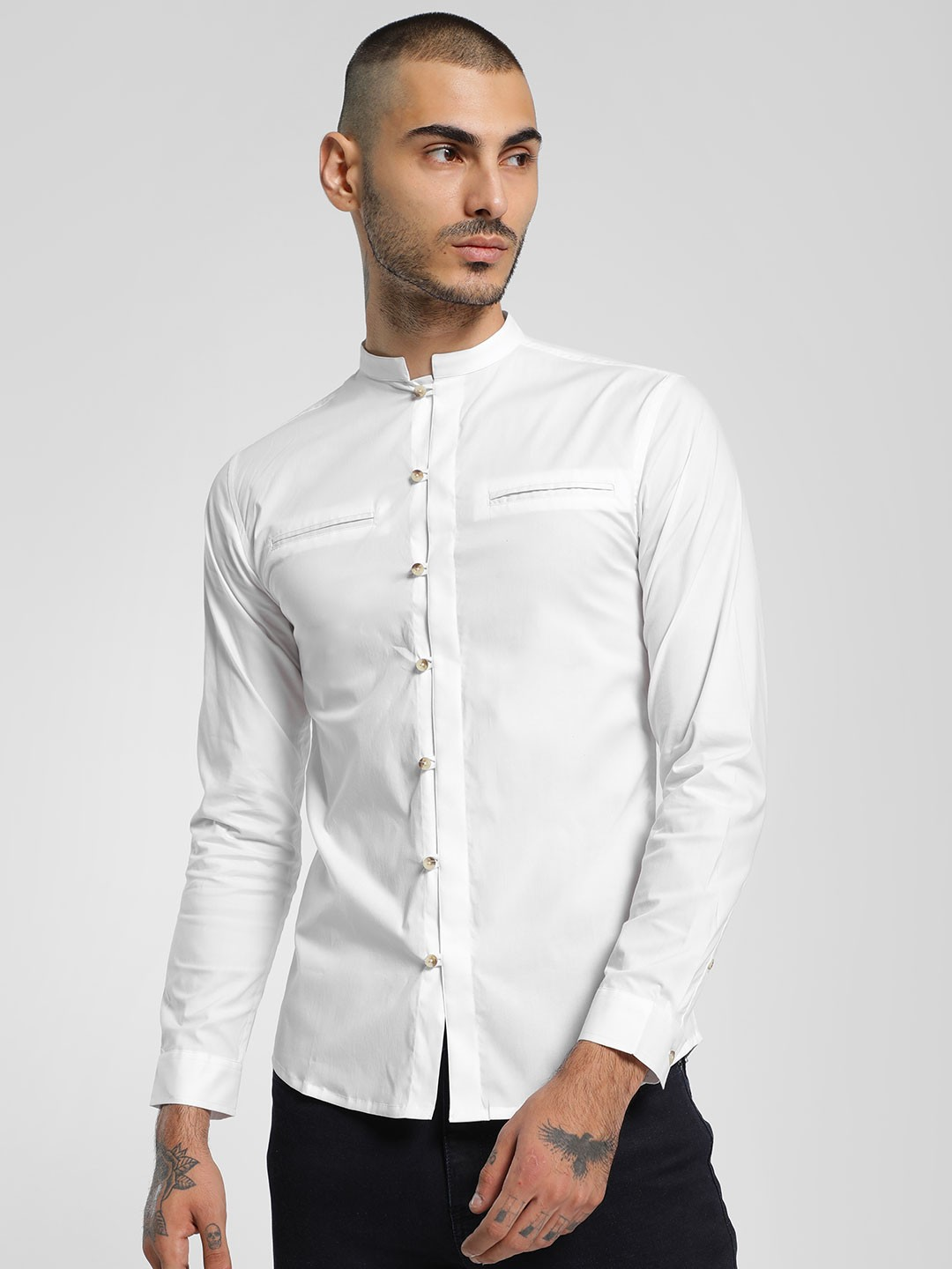 KOOVS White Mandarin Collar Long Sleeve Shirt 1