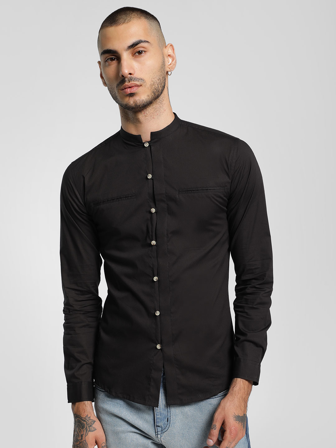 KOOVS Black Mandarin Collar Long Sleeve Shirt 1