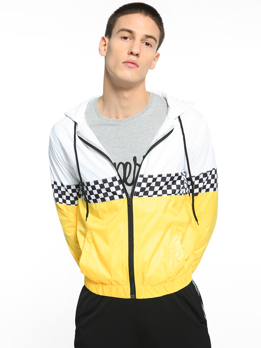 KOOVS Multi Checkerboard Colour Block Track Jacket 1