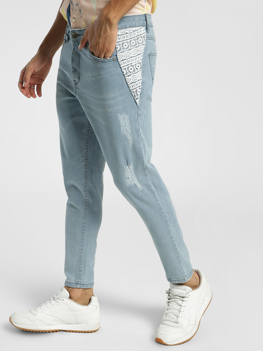 K Denim Blue KOOVS Crochet Panel Girlfriend Jeans 1