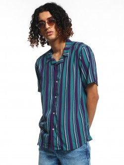 KOOVS Multi-Stripe Cuban Collar Shirt
