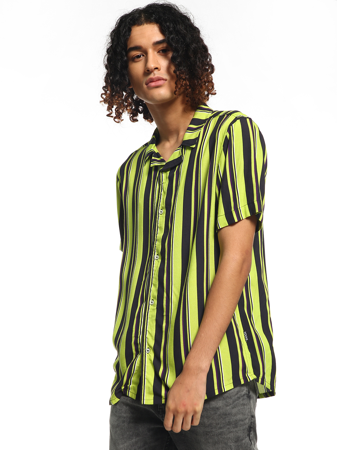 KOOVS Multi Multi-Stripe Cuban Collar Shirt 1