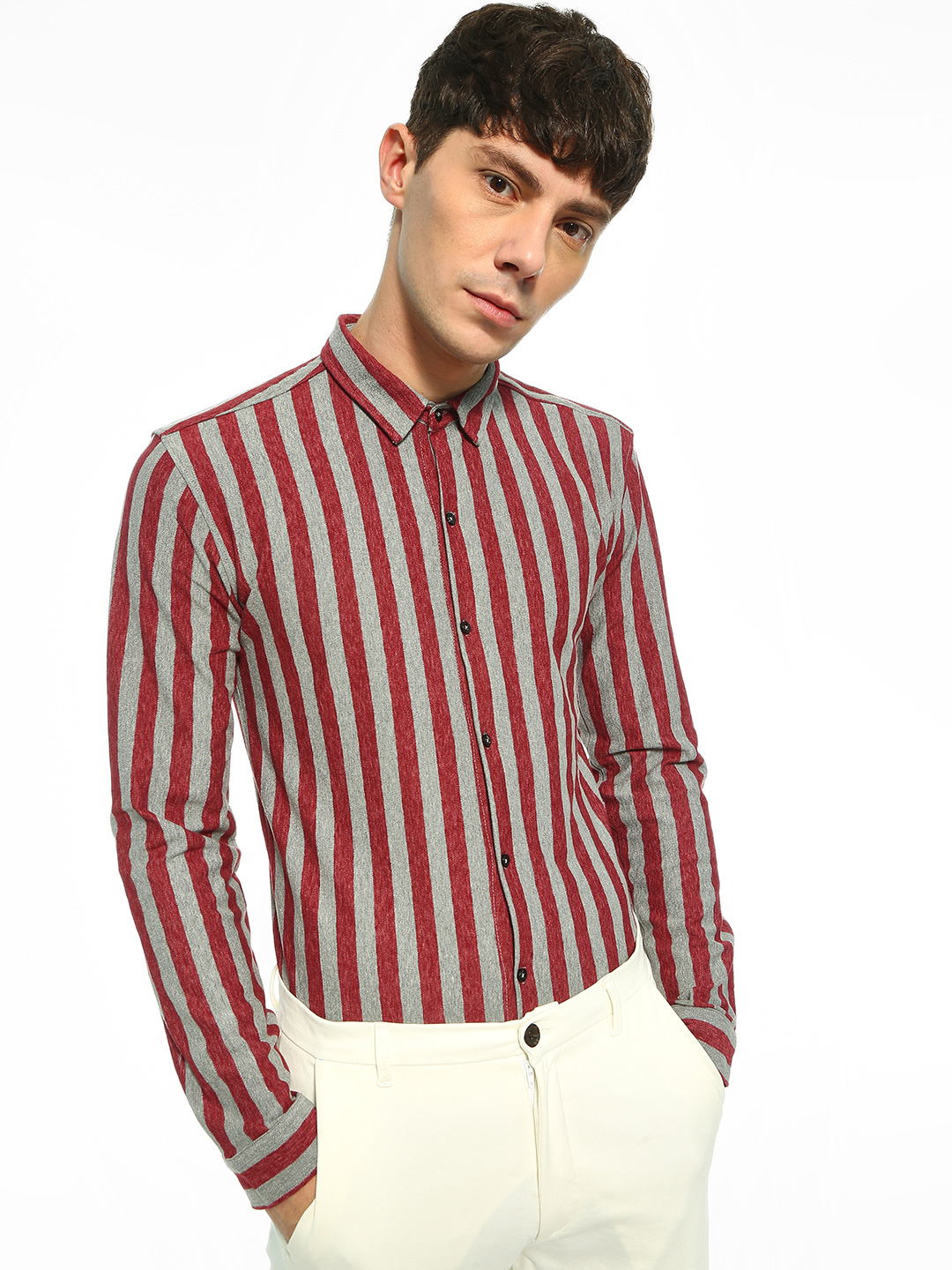 KOOVS Multi Candy Stripe Knitted Slim Shirt 1
