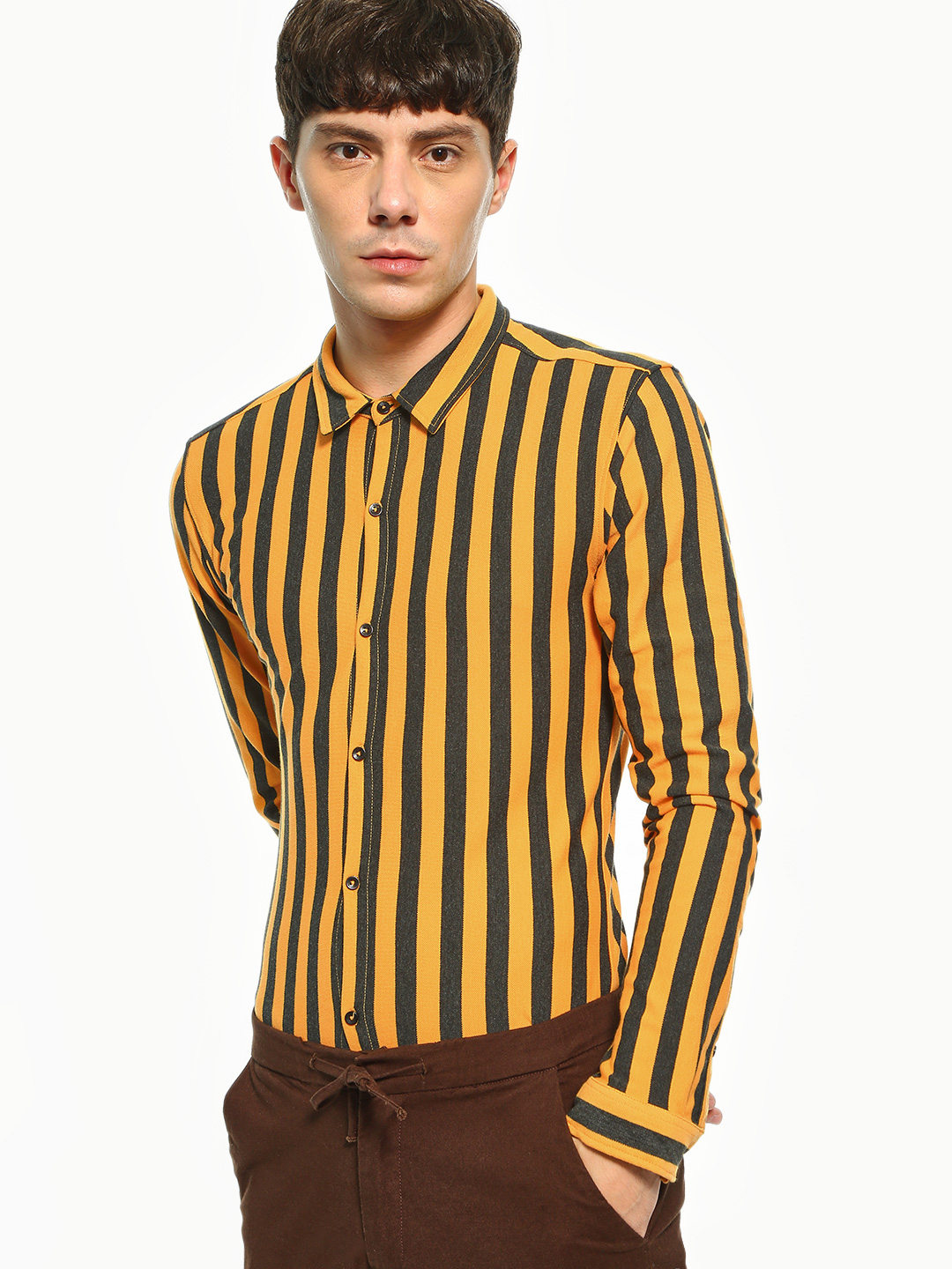 KOOVS Multi Candy Stripe Knitted Long Sleeve Shirt 1