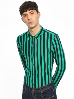 KOOVS Candy Stripe Knitted Slim Shirt
