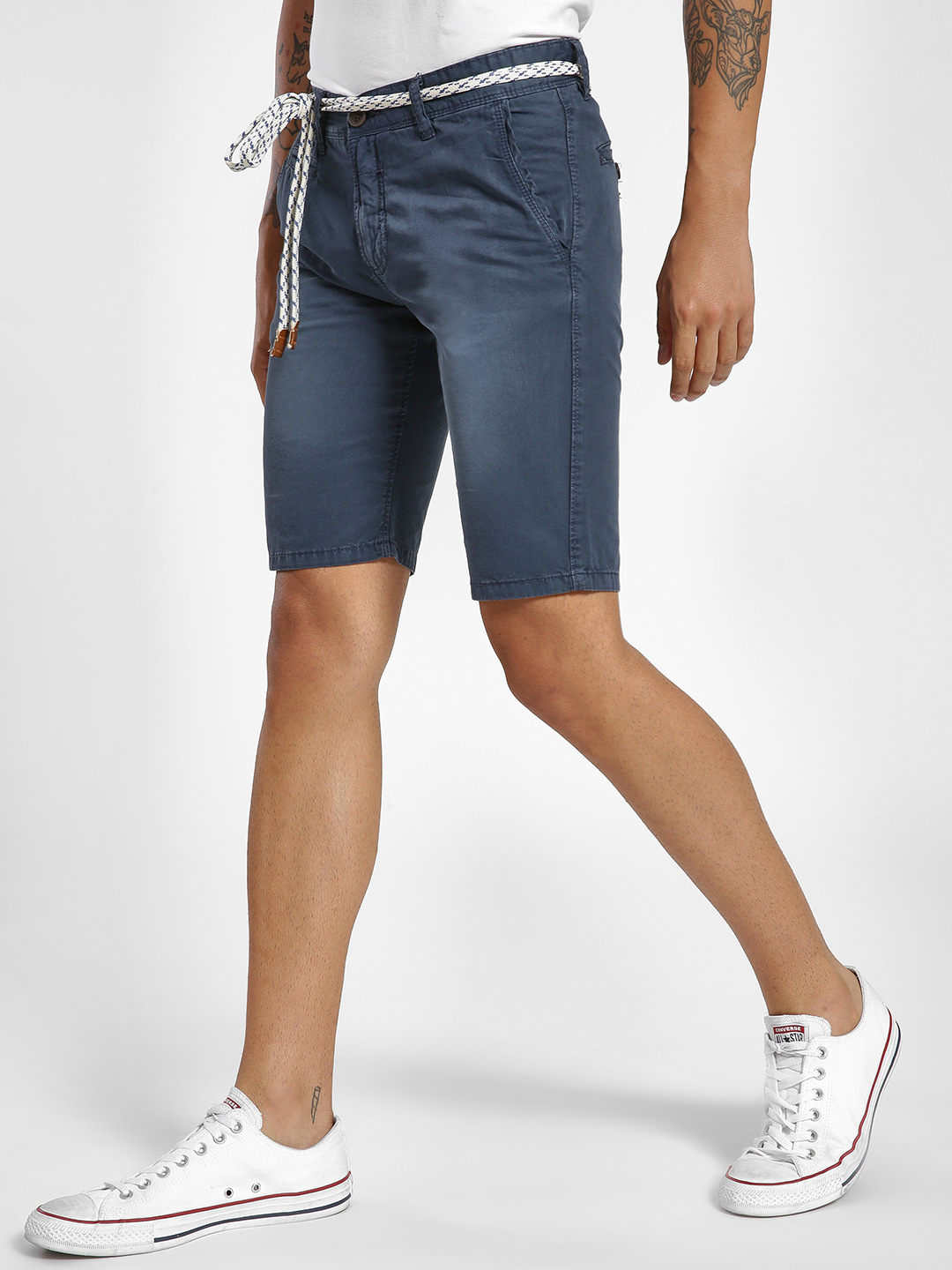 Alcott Navy Belted Washed Slim Shorts 1