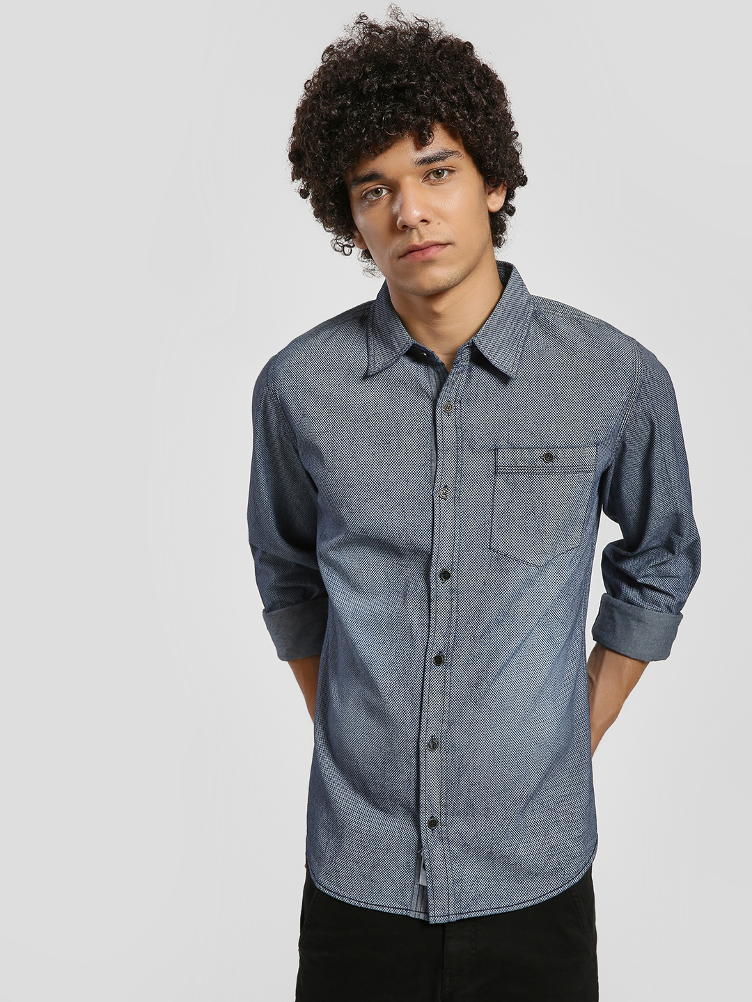 Alcott Navy All Over Print Washed Shirt 1