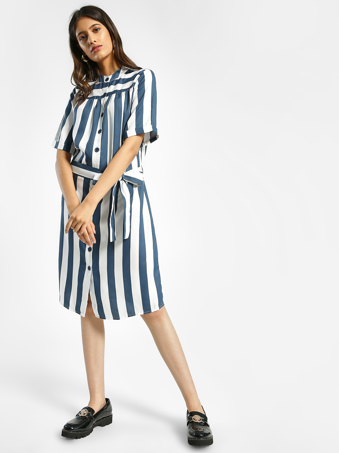 Femella Navy Colour Block Stripe Shirt Dress 1