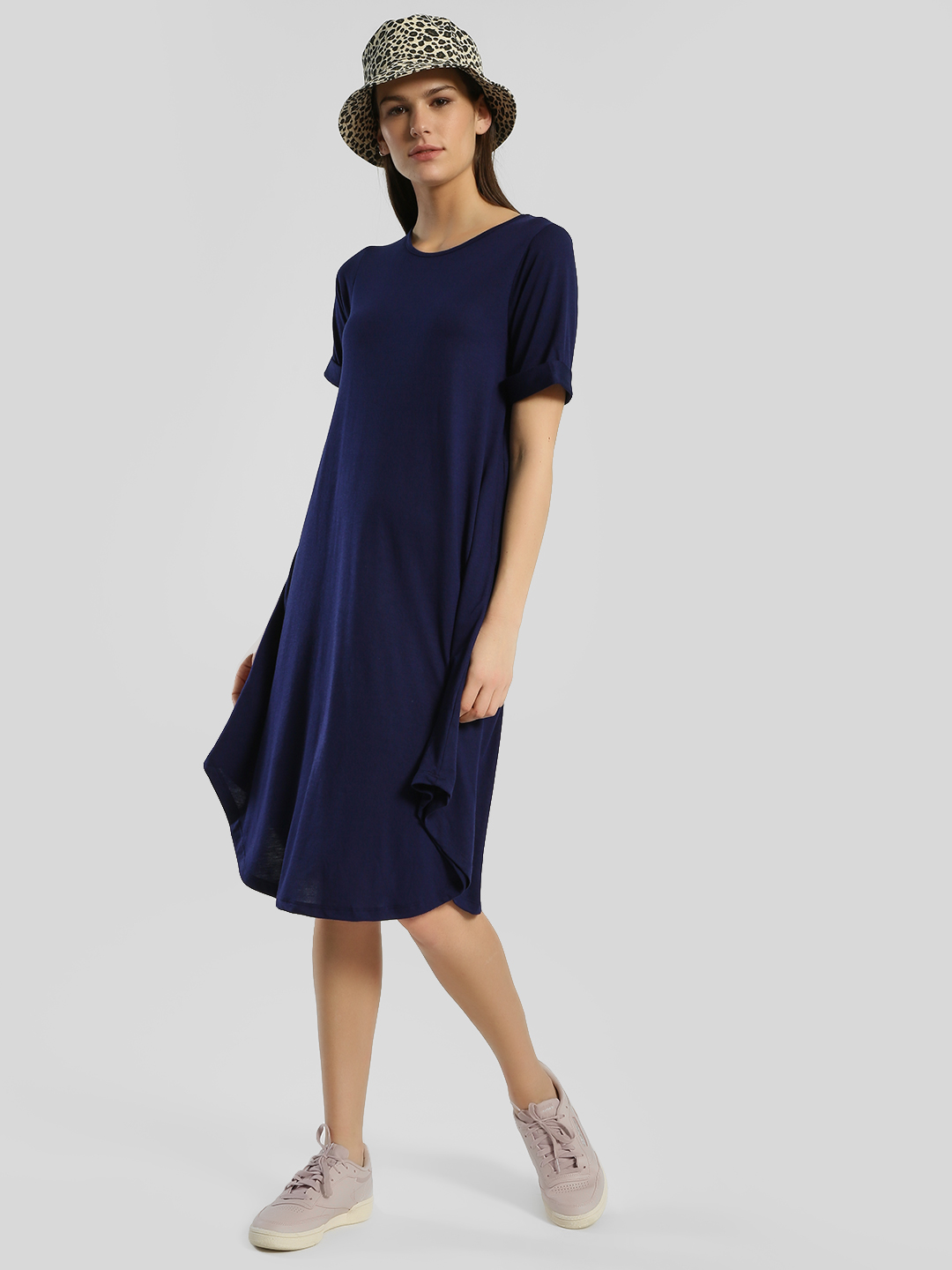Femella Electric Blue Rollover Sleeve Skater Midi Dress 1