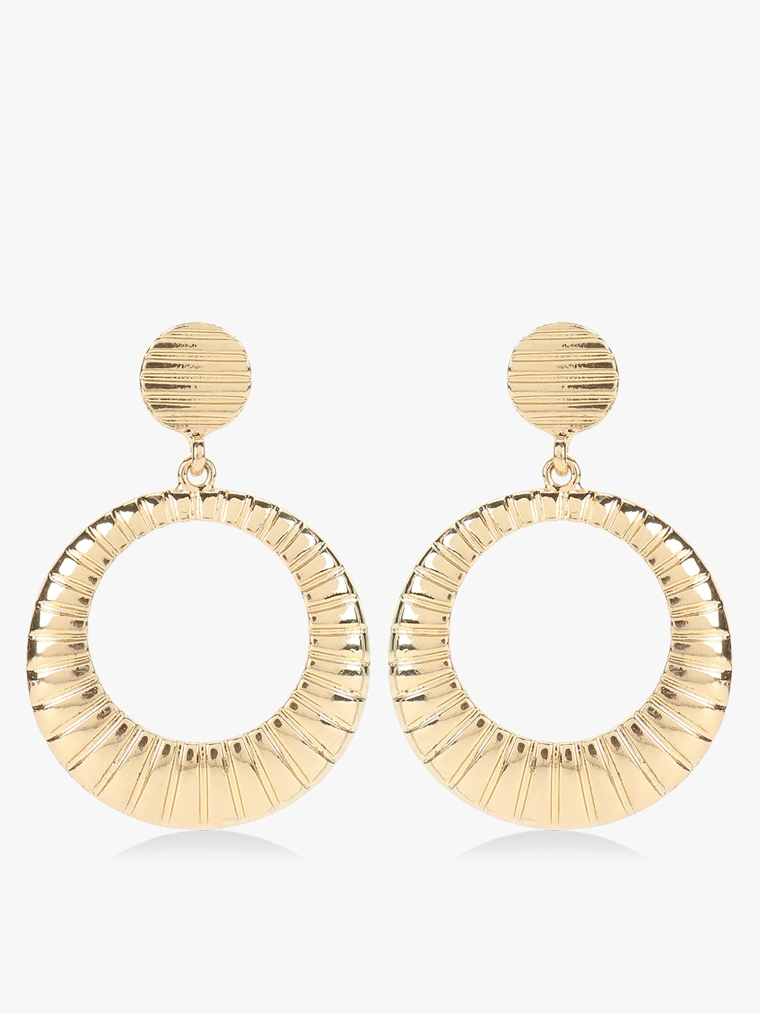 Gold Textured Concentric Earrings thumbnail