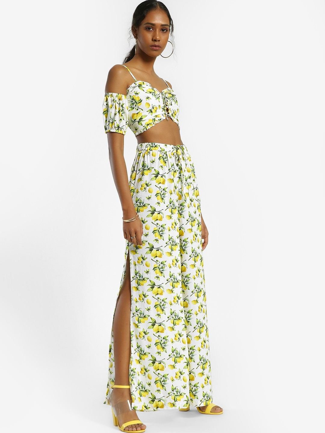 KOOVS Multi Lemon Print Split Palazzo Pants 1