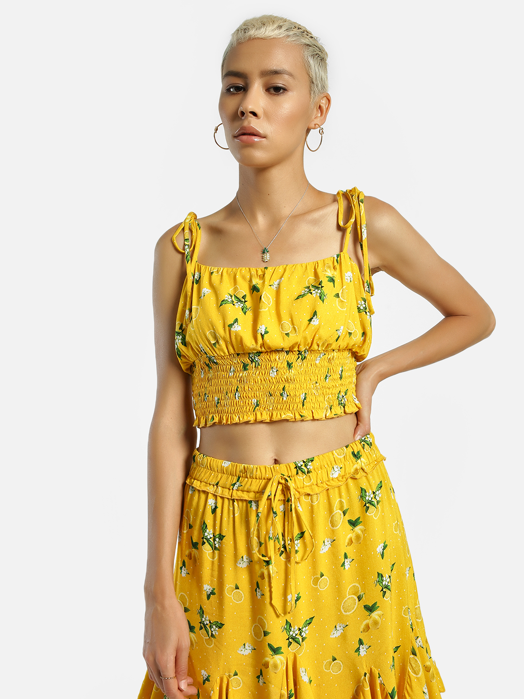 KOOVS Multi Lemon Print Smocked Crop Top 1