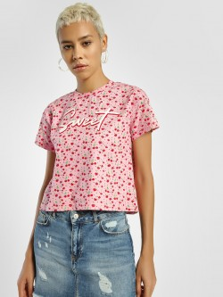 KOOVS Sweet Cherry Print Crop T-Shirt