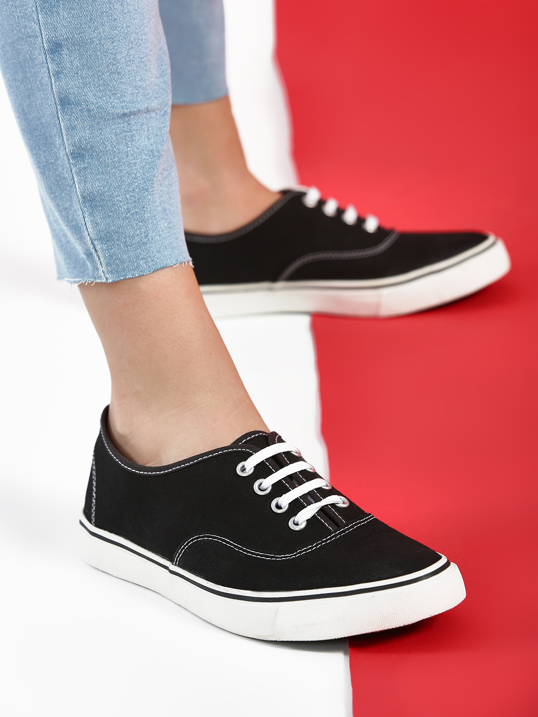 KOOVS Black Lace-Up Plimsoll Shoes 1