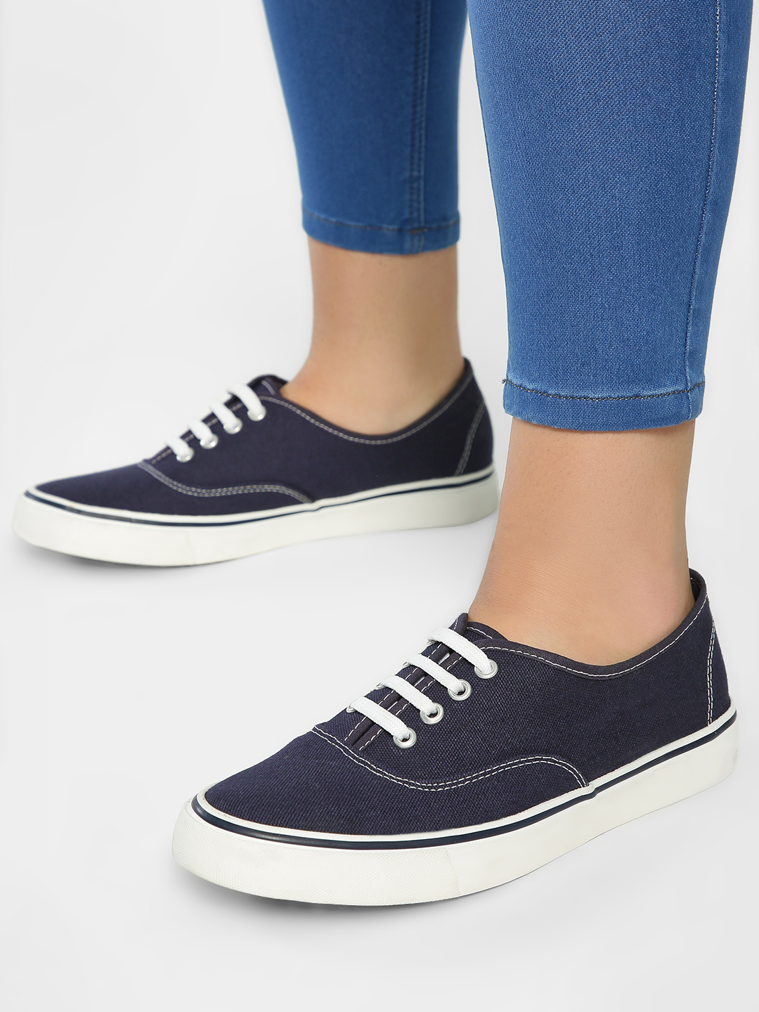 KOOVS Navy Lace-Up Plimsoll Shoes 1