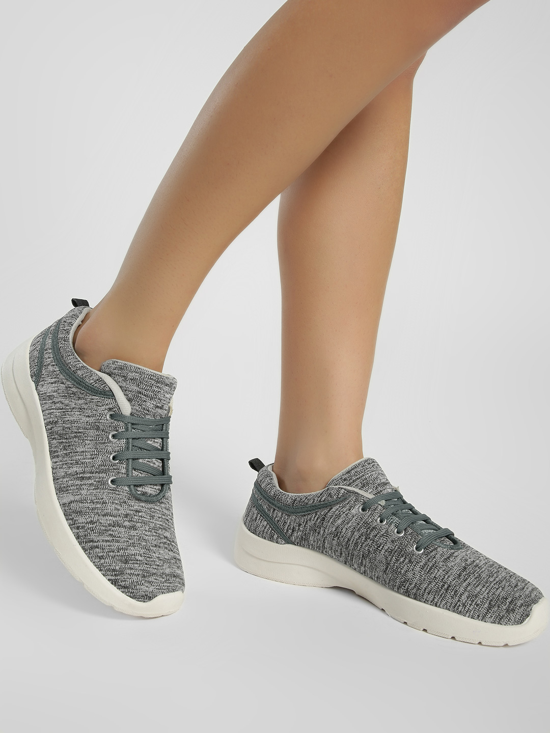 KOOVS Grey Knitted Lace-Up Sneakers 1