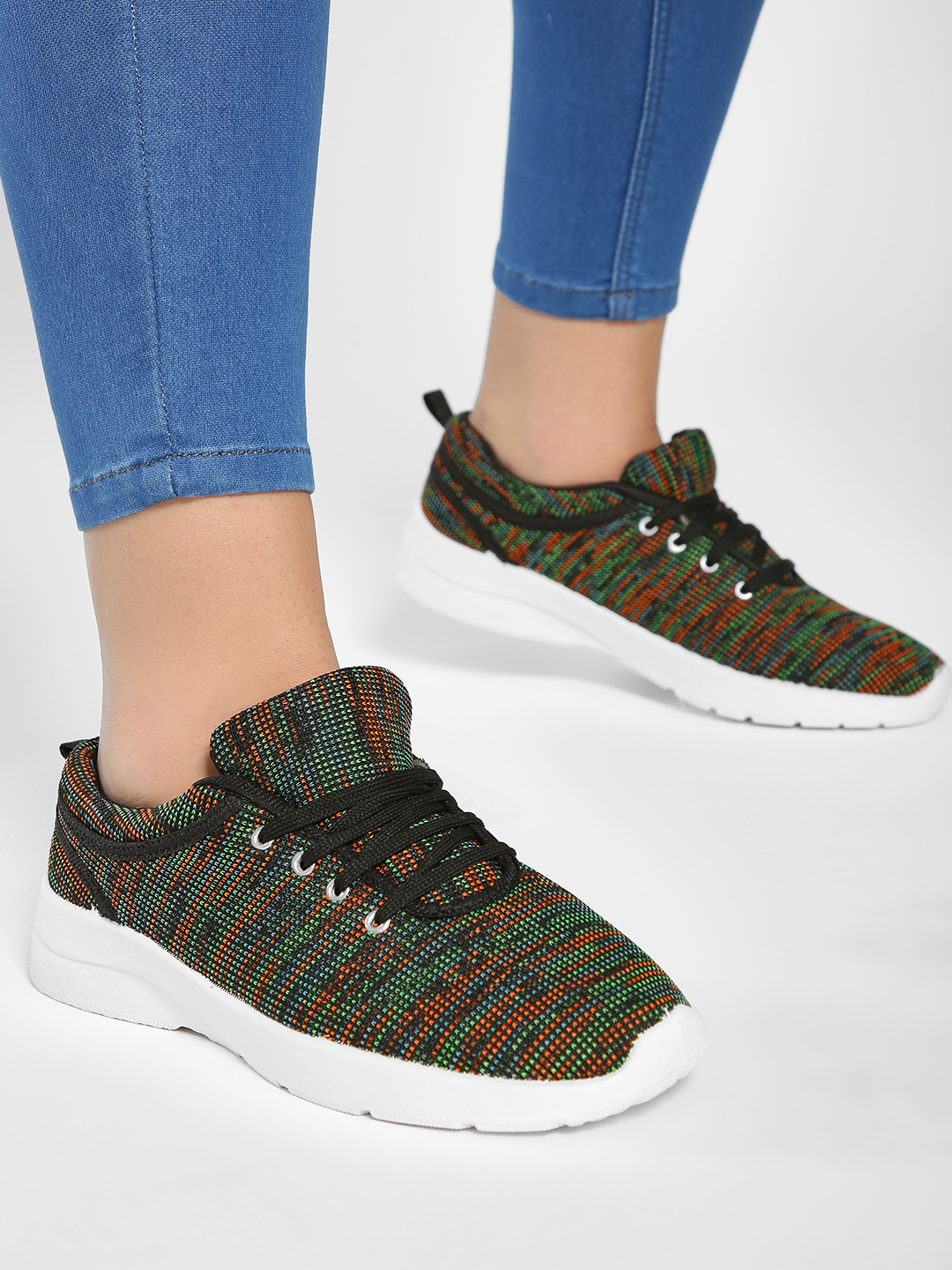 KOOVS Multi Knitted Lace-Up Sneakers 1