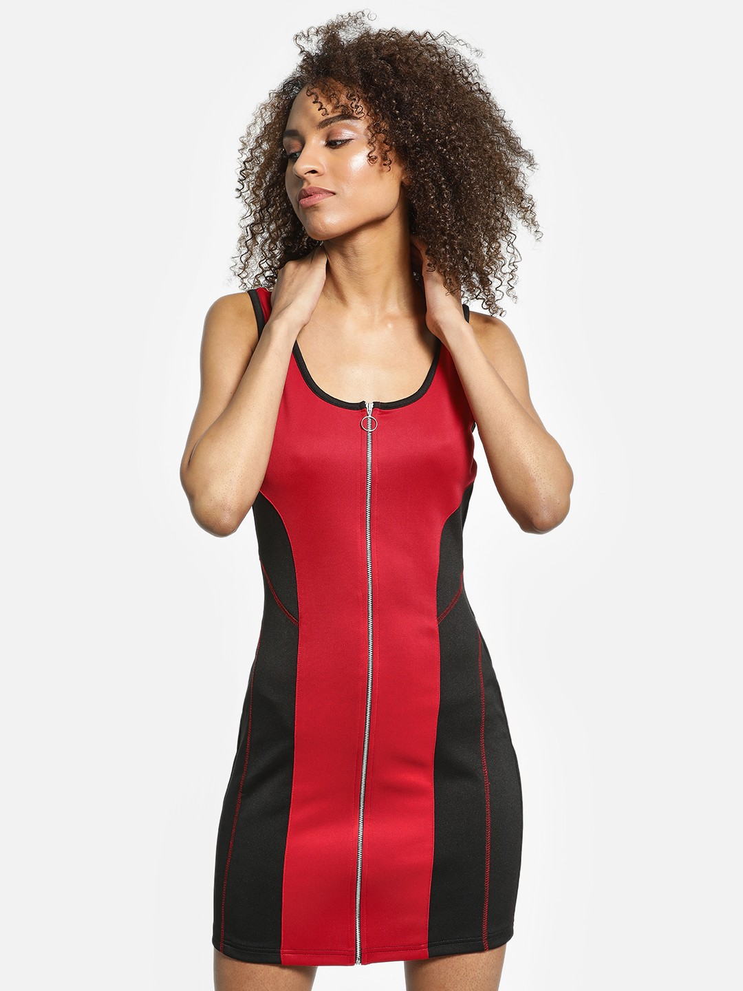 KOOVS Red/Black Colour Block Bodycon Dress 1