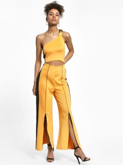 KOOVS Wide Leg Buckle Detail Jumpsuit