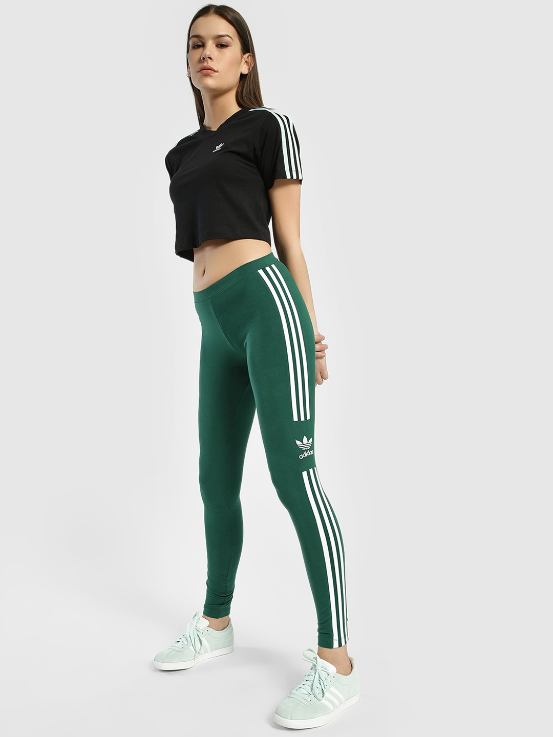 Adidas Originals Green 3-Stripe Trefoil Tights 1
