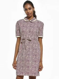 Daisy Street Leopard Print Collared Shift Dress