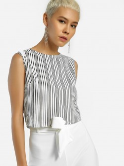 Daisy Street Multi-Stripe Print Crop Top
