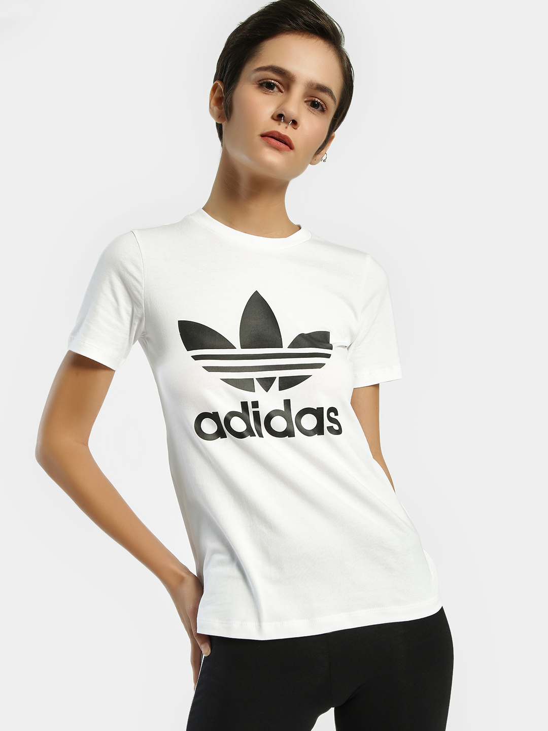 Adidas Originals White Trefoil Logo T-Shirt 1