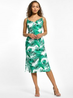 KOOVS Palm Print Midi Dress