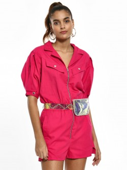 KOOVS Front Zipper Utility Playsuit