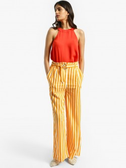 KOOVS Vertical Stripe Belted Paperbag Trousers