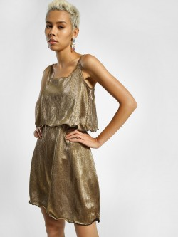 KOOVS Metallic Plisse Skater Dress