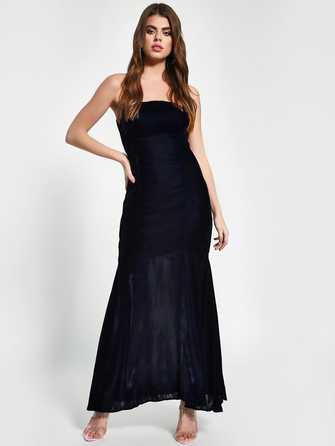 KOOVS DK NAVY Velvet Finish Evening Gown 1