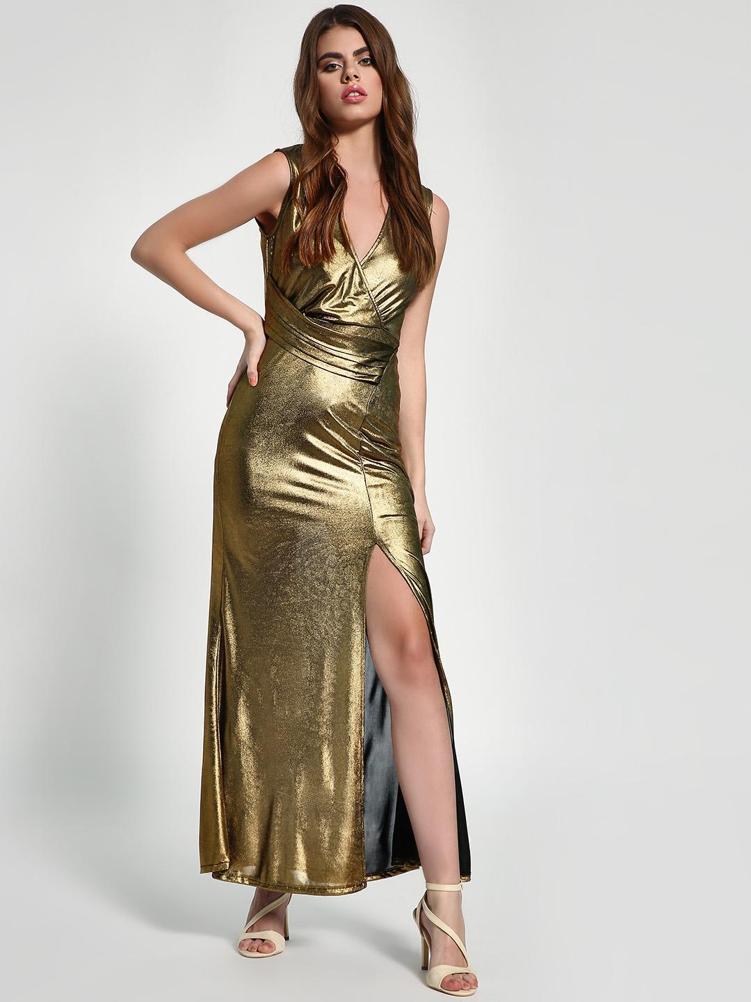 KOOVS Gold Metallic Ruched Belt Maxi Dress 1