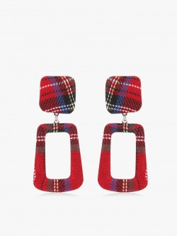 KOOVS Plaid Check Geometric Earrings