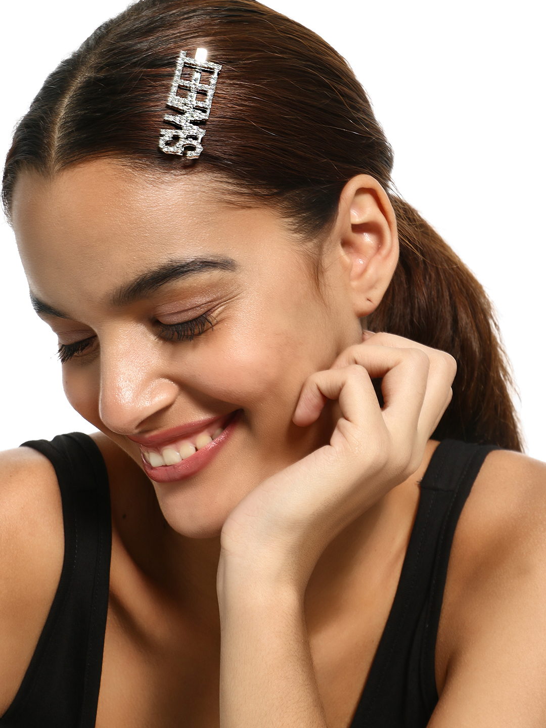 KOOVS Silver Text Diamante Embellished Hair Clip 1