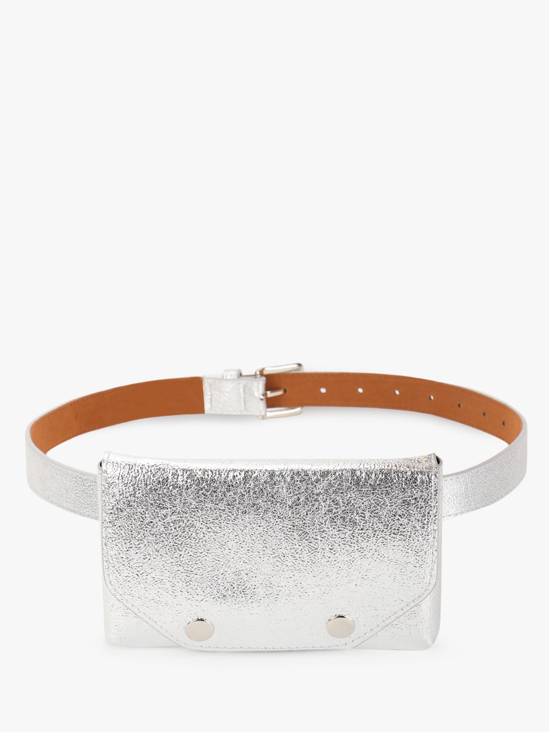 KOOVS Silver Textured Metallic Bum Bag 1
