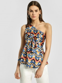 HEY One Shoulder Geometric Print Top